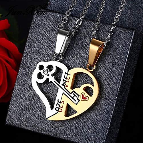 ABRC Parejas Clave única Desmontable La Mitad del Amor de los Colgantes del corazón para Las Mujeres de los Hombres de Acero Inoxidable Regalos Collares de la Manera Valentine