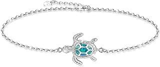 OneSight Blue Opal Sea Turtle Bracelet/Anklet Sterling Silver Bracelets Jewelry for Women Gifts