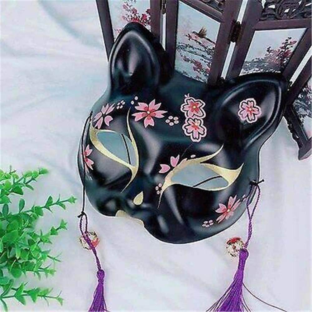 earlyad Máscara de Halloween Media Cara Japonesa Pintada a Mano ...