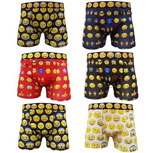 6 Paar Herren-Boxershorts mit Smiley-Gesicht, für Erwachsene, Emoji, lustige Boxershorts, S, M, L, XL (Medium)