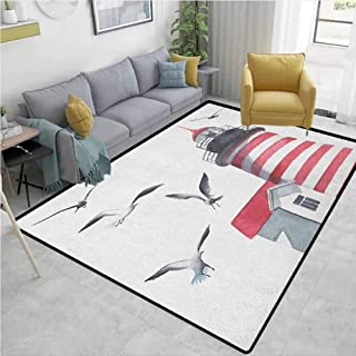 Kids Rug Lighthouse Lighthouse and Seagulls on The Beach Navigational Aid Seaside Waterways Art Home Decor Red Grey White