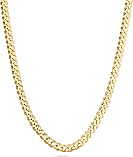 MiaBella Solid 18K Gold Over Sterling Silver Italian 5mm Diamond-Cut Cuban Link Curb Chain Necklace for Women Men, 16, 18, 20, 22, 24, 26, 30 Inch