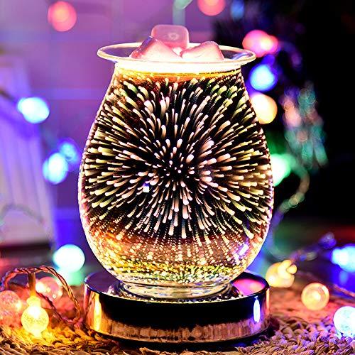 HITECHLIFE Lámpara de Aroma 3D, quemadores eléctricos de Cera fundida, lámpara de Aroma con Efecto de Fuegos Artificiales para Cera fundida, luz Nocturna Sensible al Tacto para la Oficina en casa