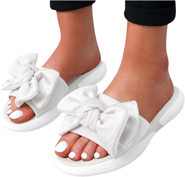 Hemlock Women Bowknot Slide Sandals Summer Open Toe Shoes Slip On Sandals Slippers Indoor Outdoor Beach Sandals Slippers