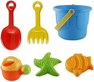 NUOLUX 6Pcs Sand Beach Toy Set Sand Bucket Set Beach Castle Sand Tools with Bucket Mold and Spade for Pools Backyard and S...