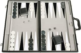 """Middleton Games 21"""" Tournament Backgammon Set - Velvet Playing Field, Black Board"""