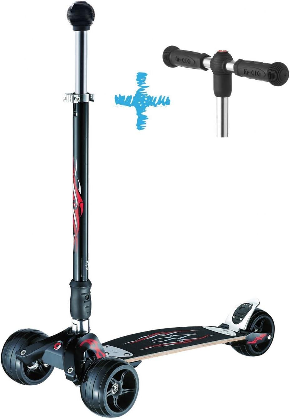 Micro® Kickboard, Diseño Original, Patinete 3 Ruedas Adultos, Sistema de Giro por inclinación, Incluye Manillar en T y Manillar en Stick (Estilo Surf) (Monster Negro)