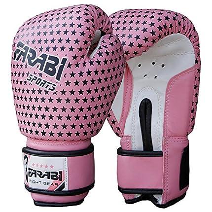 Farabi Junior 4-oz kids Boxing MMA Muay Thai Kickboxing Training punching sparring bag young gloves series (Pink stars)
