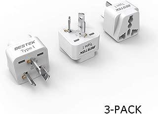 BESTEK Australia, New Zealand Travel Plug Adapter, Grounded Universal Type I Plug Adapter AU to US Adapter - Ultra Compact for Australia, New Zealand, China and More, 3 Pack
