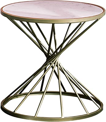 Hourglass Shaped Side Table Coffee Table Hollow Design Natural