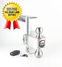 "Weigh Safe LTB8-2, 8"" Drop 180 Hitch w/ 2"" Shank/Shaft, Adjustable Aluminum Trailer Hitch & Ball Mount, Stainless Steel Co..."