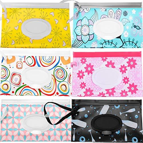 dispensador de toallitas humedas Fiyuer 6 bolsa para toallitas húmedas bebe bolsas reutilizables para Viajes Bebés Fáciles de Limpiar