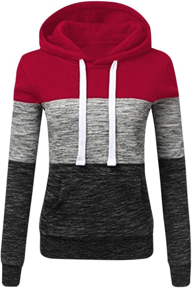 SALIFUN Women Color Block Hoodies Casual Patchwork Pullover Hooded Sweatshirts Long Sleeve Tops Sweaters