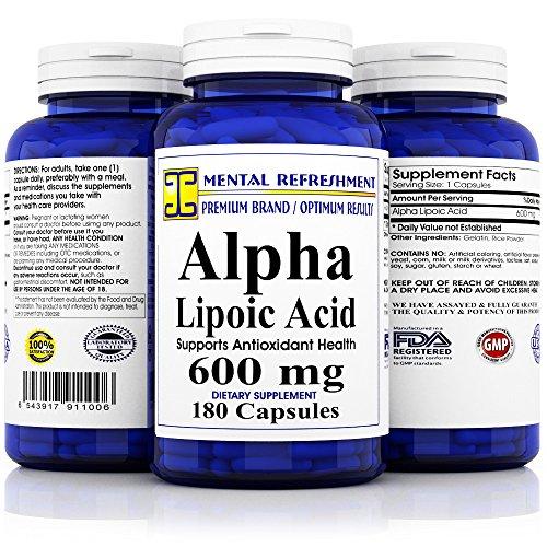 Mental Refreshment: Alpha Lipoic Acid 600mg 180caps (1 Bottle)