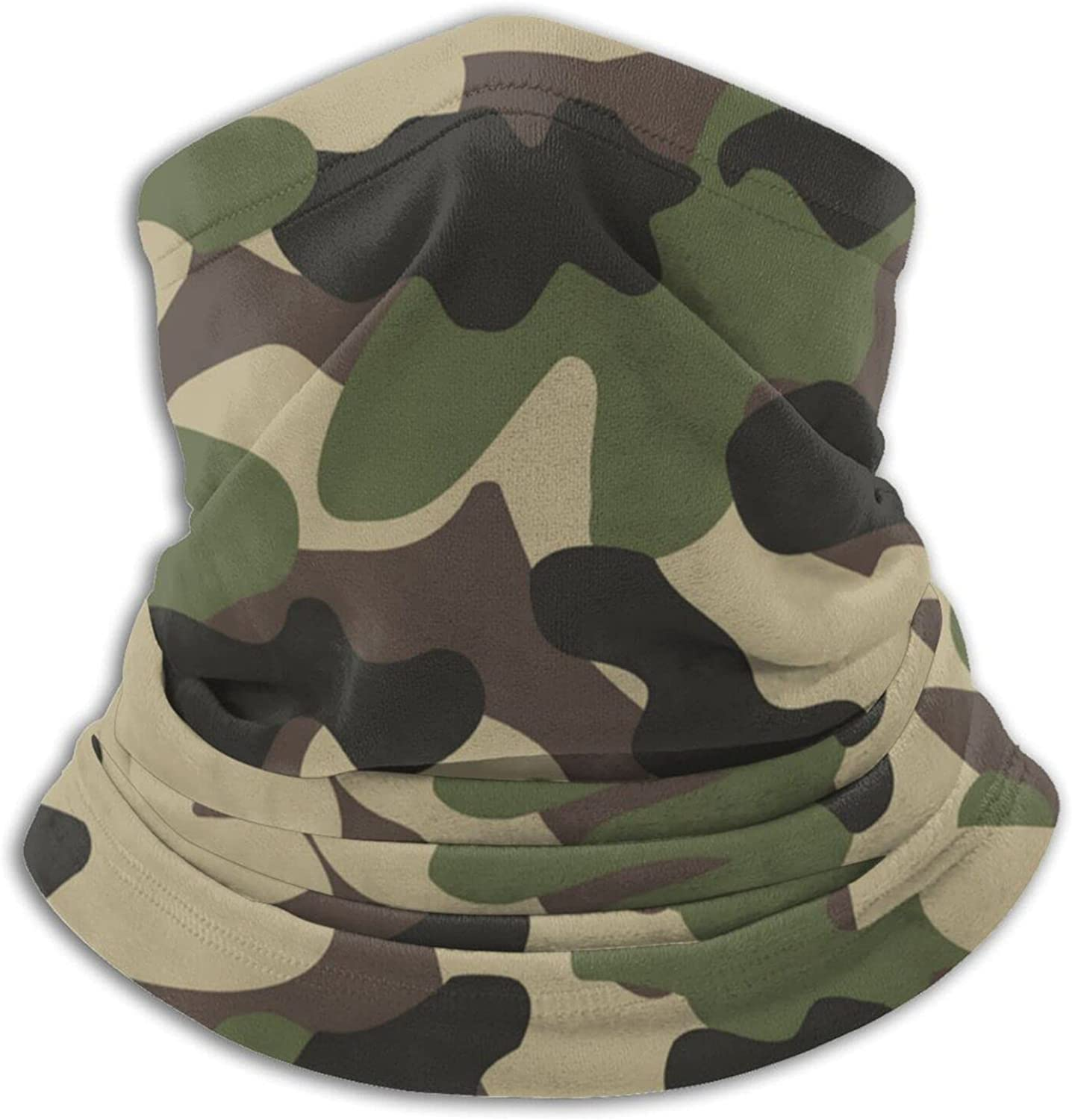 Woodland camo green unisex winter neck gaiter face cover mask, windproof balaclava scarf for fishing, running & hiking