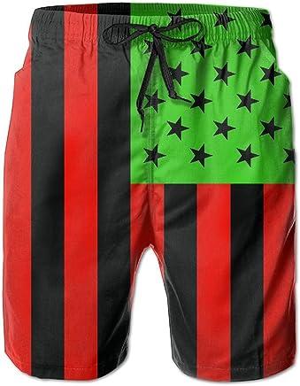 0315403d3e HSJOTT African American Flag - Red Black and Green Casual Men's Swim Trunk  Beach Shorts