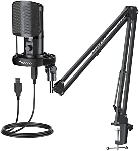 USB Microphone, All in one Kit with Gain PoP Filter Shock Mount, MAONO Professional Condenser Computer Mic for Podcasting, Gaming, Recording, Streaming, YouTube, PC, Laptop, AU-PM461S