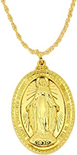 24K Gold Plated 925 Sterling Silver Polished Raised Figure Miraculous Virgin Mary Double Sided Oval Pendant Medal Necklaces Fine Jewelry Gifts for Women and Men