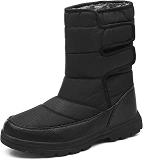 SONLLEIVOO Mens Snow Boots Winter Boot Waterproof Light Weight High Top with Fur Lined Outdoor