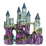 Decoración de castillo de acuario pintada a mano con detalles realistas 9.8 pulgadas de alto tanque de peces pequeños...