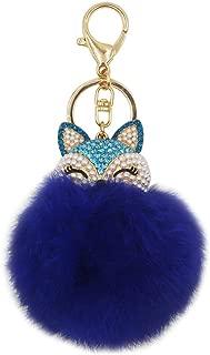 leomoste Cute Fox Keychain Soft Big Fluffy Ball Keyring Key Organizer Bag Decoration Gift for Girls Women