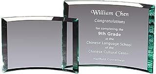 Crystal Etch - Custom Personalized Award Plaque, Recognition, Graduation, Appreciation, Achievement, Sandblasted Etched Glass Crescent
