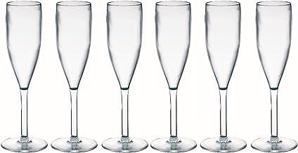 Viva Haushaltswaren - 6 x bruchfestes Sektglas 190 ml, Kunstoffgläser (Polycarbonat) im Set als Partygläser, Picknickgläser & Bootsgläser etc. verwendbar (wie echtes Glas)