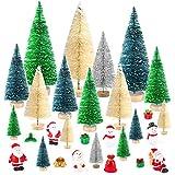 KUUQA 29 pezzi Mini alberi di gelo di neve di sisal Spazzola di bottiglia Alberi Mini alberi di Natale con figure Babbo Natale, pupazzo di neve, scatole regalo Ornamenti in miniatura per la decorazion