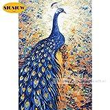 XCxCN 5D-DIY-Diamond Pintura Azul Pavo Real Animal Punto de Cruz Herramienta China Diamante Pintura Mosaico Decoración del Hogar Diamante Cuadrado Sin Marco -40x50cm