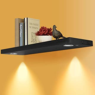 Costzon Floating Wall Mounted Shelf with LED Lights, Upgraded Version Built-in Rechargeable Battery Powered Light, Intensity Control Energy Saving Wood Shelf (32