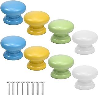 8 Pcs Bouton De Porte D'armoire Coloré Boutons De Tiroir En Bois Poignée De Tirage Ronde Boutons De Meubles Solides Pour A...