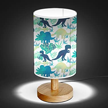 ArtLights - Wood Base Decoration Desk/Table/Bedside Lamp [ Watercolor T-Rex Others Dinosaurs ]