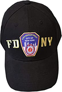 FDNY Baseball Hat Police Badge Fire Department of New York City Black & Gold