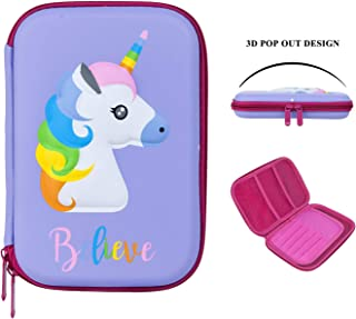3D EVA Cute Unicorn Pencil Case for Girls Kids | Large Capacity Hardtop Pencil Box | Stationery Organizer with Compartments (Purple)