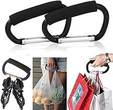 Mmkiss 2 Packs Grocery Bag Holder Handle Aluminum Carabiners, Strong Large Durable Buggy Stroller Hooks or Diaper Bags Holder- Black, Blue
