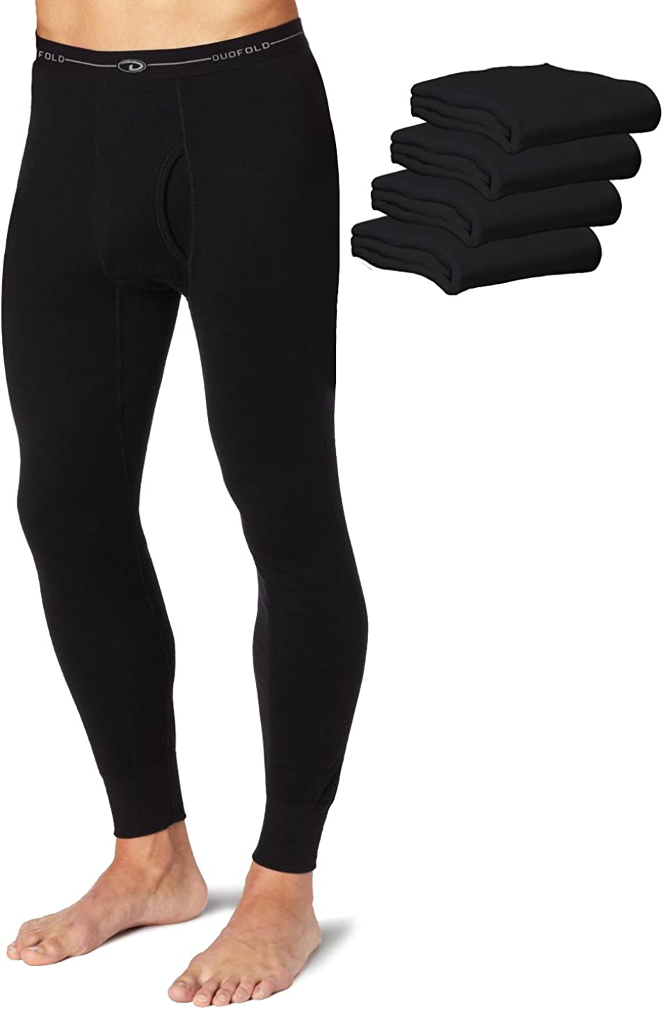 Duofold KMW2 Men's Mid Weight Wicking Thermal Pant Black (Pack of 5)