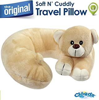 Cloudz Kids Plush Animal Travel Neck Pillow - Bear