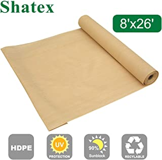 Shatex 90% Sun Shade Fabric, Sun-Block Net Mesh Shade with Clips for Pergola Cover Porch Vertical Screen 8x26ft, Beige