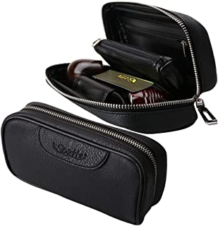 Scotte(TM) Durable leather 2 pipe tobacco pouch case black