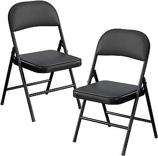 Insputer 折りたたみチェア 組み立て不要 幅47×奥行47×高さ78cm 椅子 チェア 背付き パイプ椅子 軽量 コンパクト収納 完成品 ブラック (2脚セット)