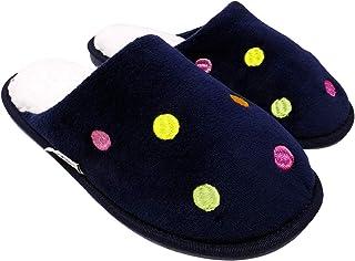 Arra Pantufla con Bordado de Bolitas para Dama - Salto de Cama- Color Marino Multicolor
