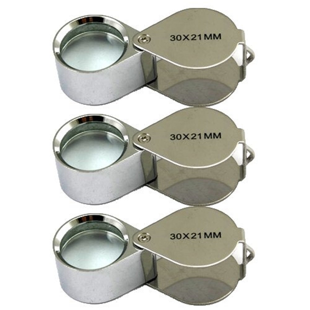 3個ミニ30X 21mmジュエリージュエリージュエリールーペシルバー/ボックス