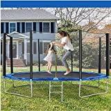 Trampoline 10 FT Outdoor Trampoline for Children and Adults , Safe Backyard Trampoline with Enclosure Net Ladder Pad Jumping Mat T-Hook Rain Cover, Including All Accessories (10 FT)