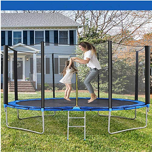 KAB Trampoline 10 FT Outdoor Trampoline for Children and Adults, Safe Backyard Trampoline with Enclosure Net Ladder Pad Jumping Mat T-Hook Rain Cover, Including All Accessories (10 FT)