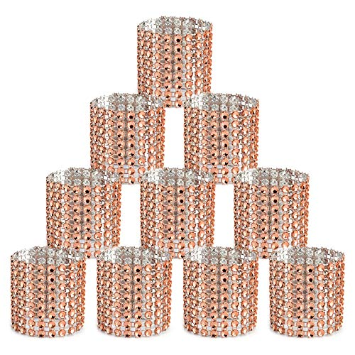 Digoon Napkin Rings Set of 100 Napkin Rings Buckles for Table Decorations, Wedding, Dinner,Party, DIY Decoration (100 PCS, Rose Gold)