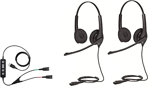 2021 Soft Phone/PC USB Training Supervisory Bundle with Two (2) high quality Biz 1500 Duo popular QD Headsets and USB Training Cable online sale