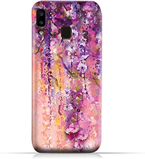 AMC Design Samsung Galaxy A20 TPU Silicone Case with Artistic Purple Flowers Pattern