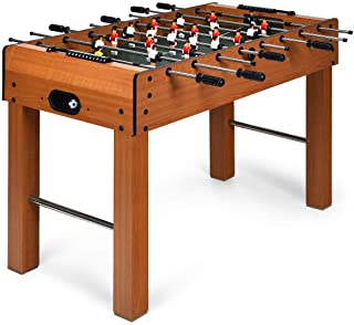 "GYMAX 48"" Foosball Table, Indoor Soccer Wood Game Table w/ 2 Balls, Competition Sized & Multi Person Table Soccer for Adults, Home, Game Room"