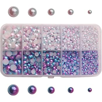 40 10mm Purple Flat Back resin Pearls Wedding Invites Cards Favours Crafts