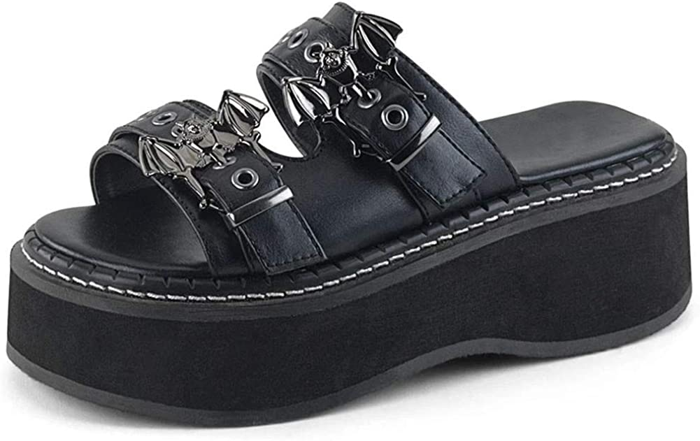 Platform Wedge Sandals for Women Comfy Open Toe Summer Beach Goth Slip on Slide Sandals Slippers